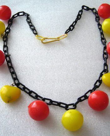 Vintage early plastic light weight balls and hearts necklace