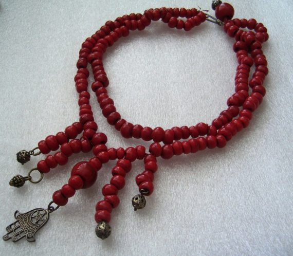 Vintage old antique vivd red glass coral-like necklace with silvert-one hamsa