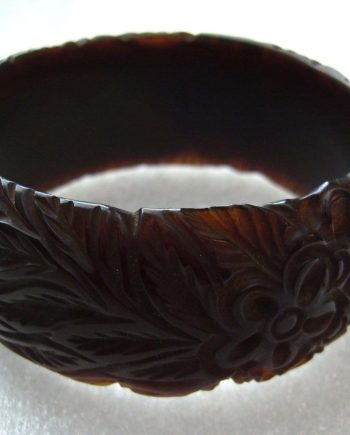 Vintage art deco carved brown color flowers leaves bakelite  bangle