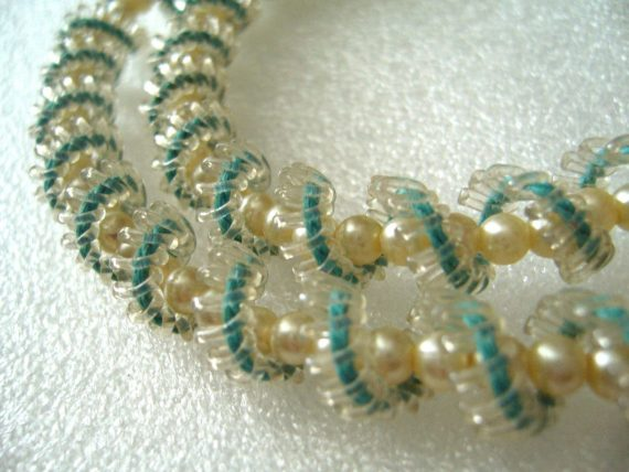 Vintage  early plastic delicate braided light blue necklace