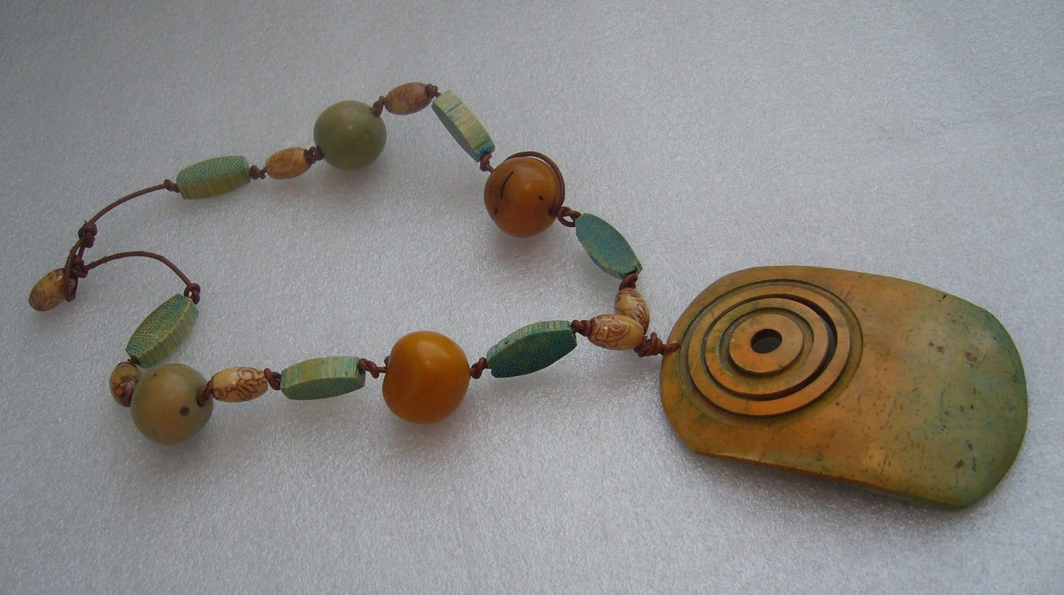 Vintage hand painted wood necklace