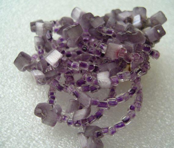 Vintage early plastic  purple / violet beaded pin / brooch