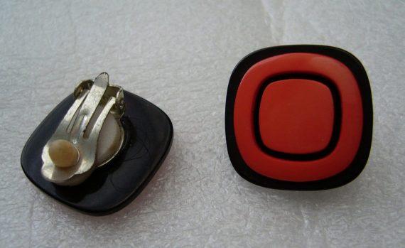 Vintage clip on plastic orange earrings