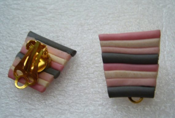 Vintage clip on plastic earrings with stripes