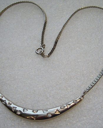 Vintage silver color and rhinestones cute necklace