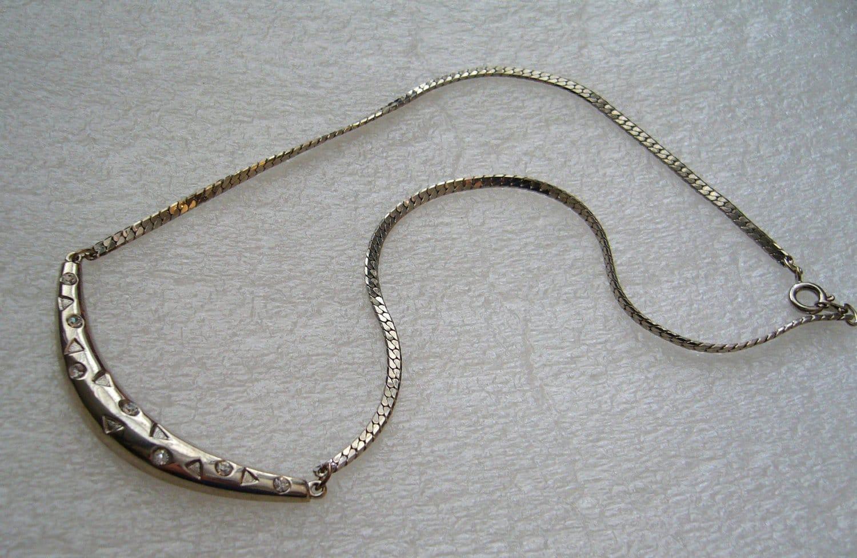 Vintage silver color and rhinestones cute necklace