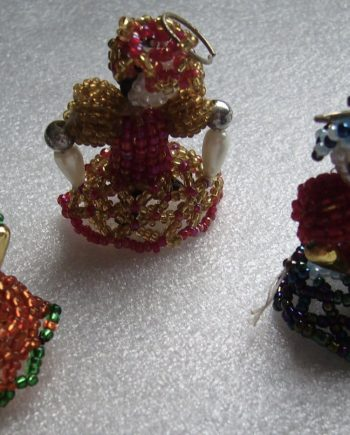Vintage hand made beads' dolls pendants - lot of 3
