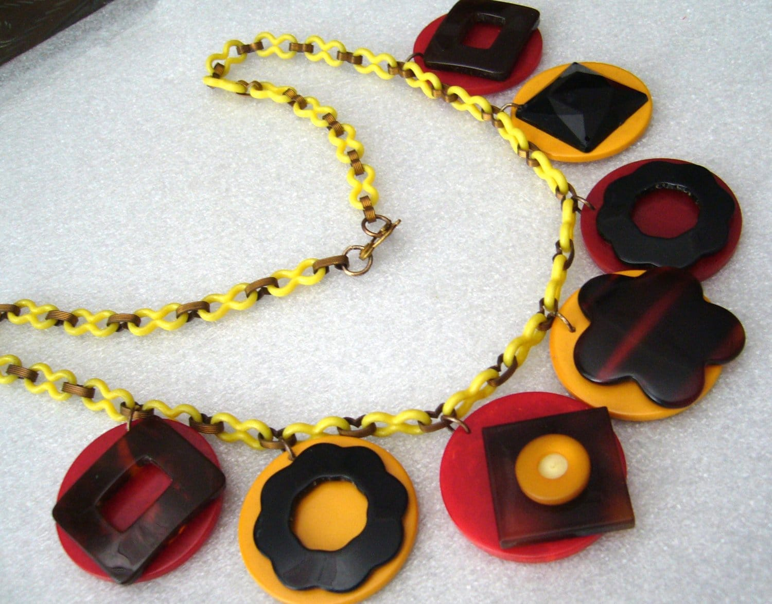 Vintage bakelite & celluloid art deco dangles necklace - bakelite era