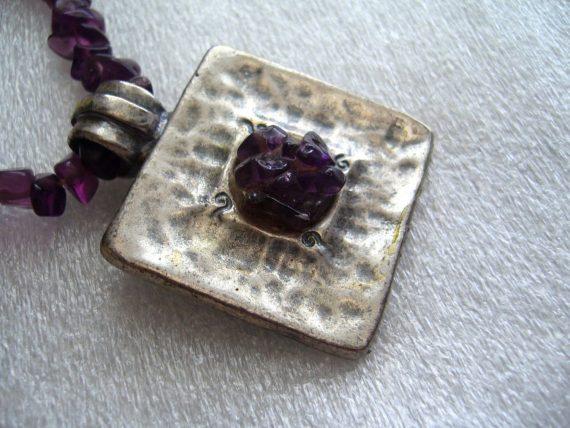 Vintage silver-tone pendant on amethist chain  necklace -  Israeli design signed Avgad