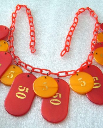 Vintage early plastic 1980's dangles necklace - gambling theme