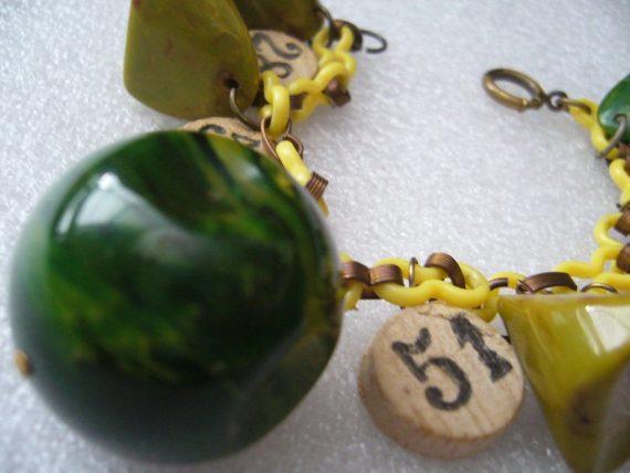 Vintage bakelite and wood bracelet on celluloid chain