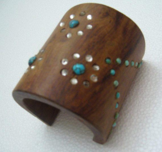 Vintage huge wood , rhinestones and turquoises cuff bracelet bangle