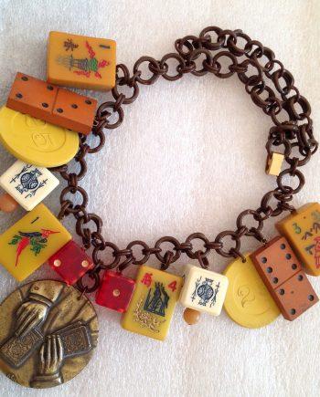 Vintage bakelite, celluloid & early plastic art deco gambling necklace - bakelite era