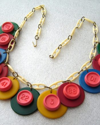 """Vintage galalith & early plastic """"numbers"""" art deco necklace"""