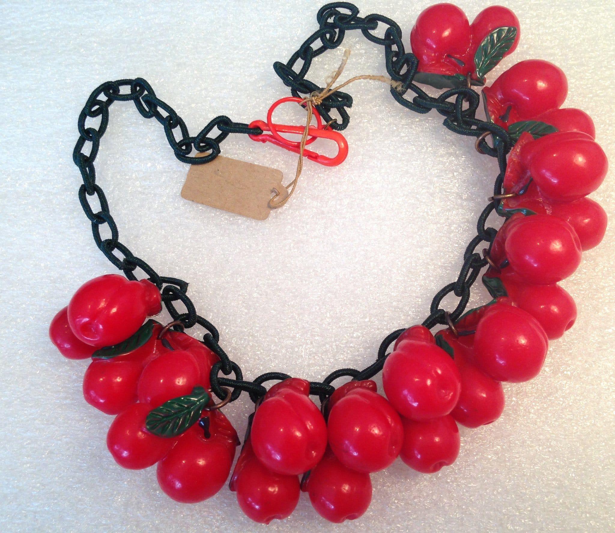 Vintage style plastic cherries necklace