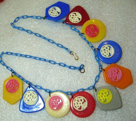 Vintage Israeli advertising charms 1960's necklace - Etz Hazayt - Olive Tree factory
