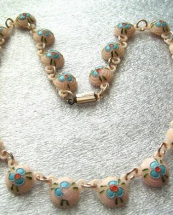 Vintage delicate carved pink celluloid necklace - with hand painted flowers