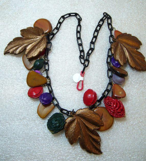 Vintage celluloid huge leaves & hand painted seeds & kernels necklace
