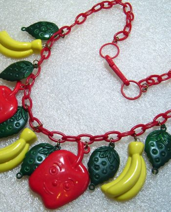 Vintage early plastic apples, bananas & strawberries necklace
