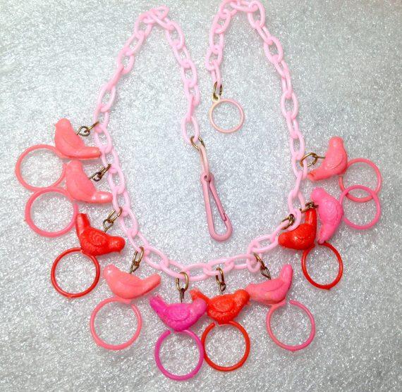 Vintage celluloid birds necklace