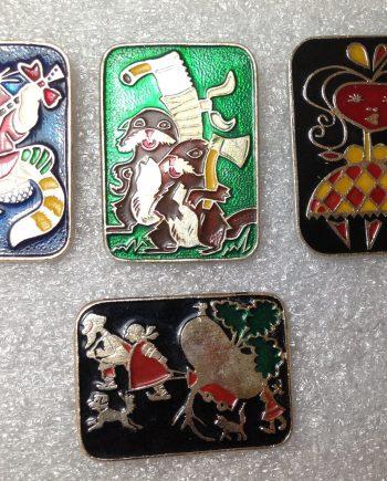 Vintage 1960's enameled aluminum Russian fairy tales pin brooch