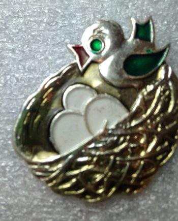 Vintage 1960's enameled aluminum Russian bird in the nest pin brooch