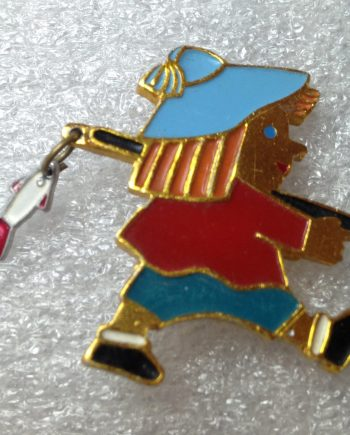 Vintage 1960's enameled aluminum Russian fisherman pin brooch