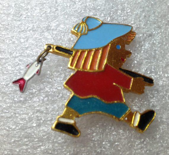 Vintage 1960's enameled aluminum Russian fisherman pin brooch