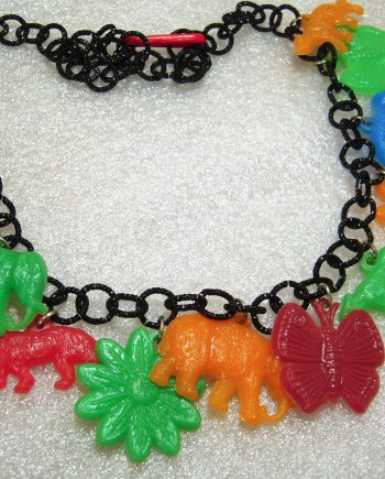 Vintage style animals' charms necklace, made with vintage 1960's early plastic Israeli advertising charms