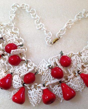 Vintage celluloid and papier mache' pears necklace