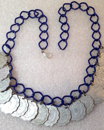 Vintage style aluminum Israeli 1952's coins dangles necklace