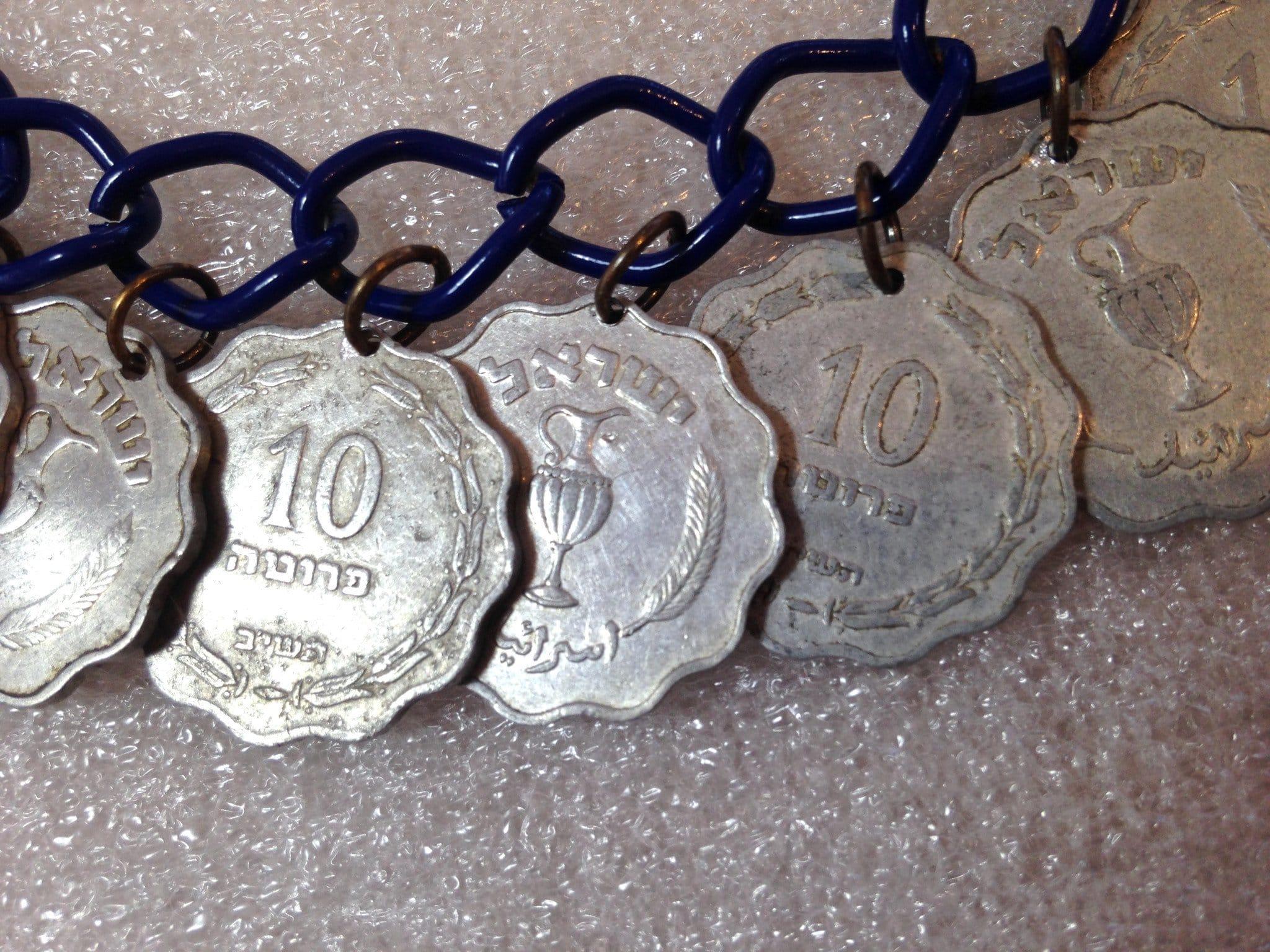 Vintage style aluminum Israeli 1952's coins dangles necklace