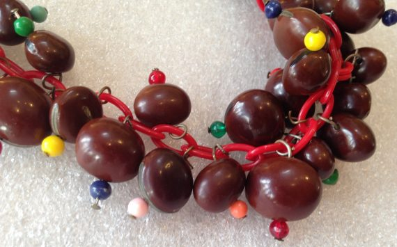 Vintage celluloid early plastic faux seeds necklace
