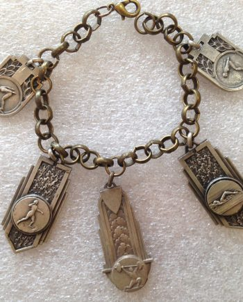 Vintage brass and silver-tone metal sports' medals bracelet