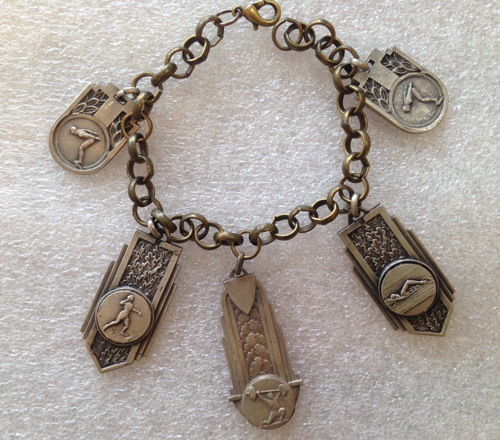 Vintage brass and silver-tone metal sports' medals bracelet