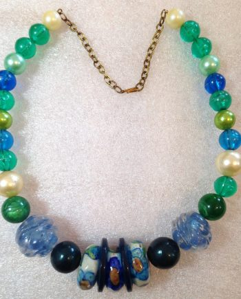 Vintage style early plastic colorful beads necklace #1