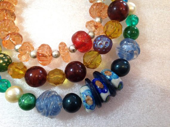 Vintage style early plastic colorful beads necklace #3