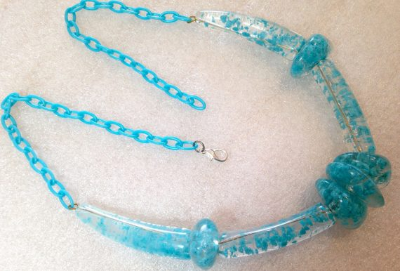 Vintage style early plastic turquoise huge beads necklace #4