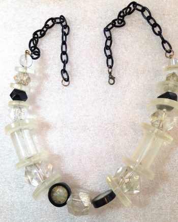 Vintage 1980's early plastic clear & black huge beads necklace