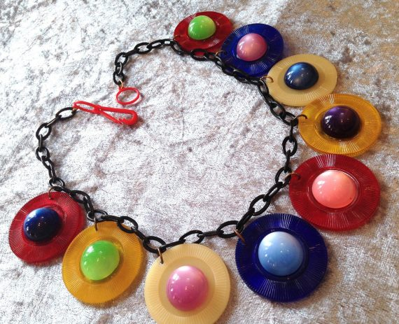 Vintage style early plastic semi transparent charms necklace