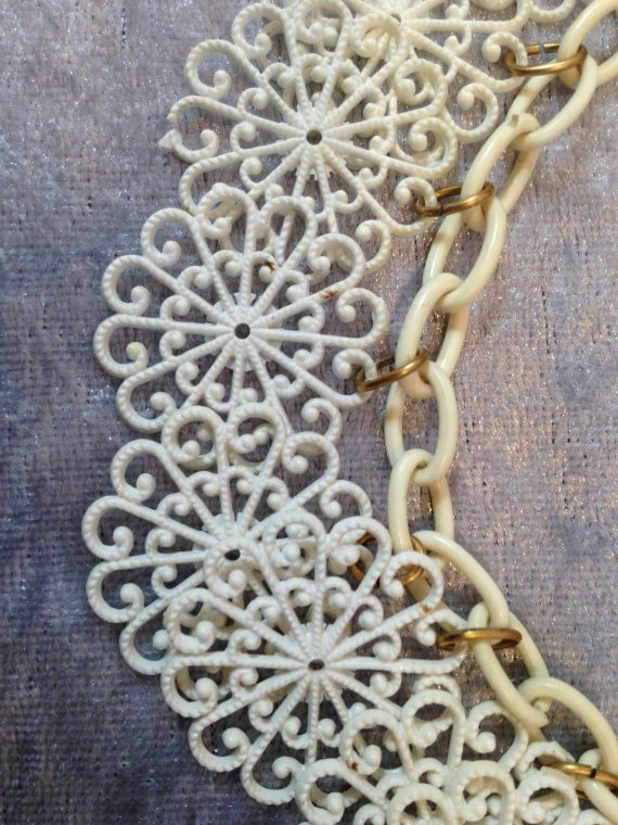 Vintage celluloid filigree flowers necklace