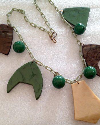 Vintage celluloid & galalith galalite huge dangles necklace - bakelite era