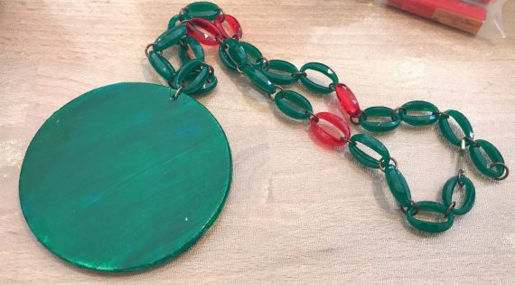 Vintage early plastic hand painted watermelon's slice pendant necklace