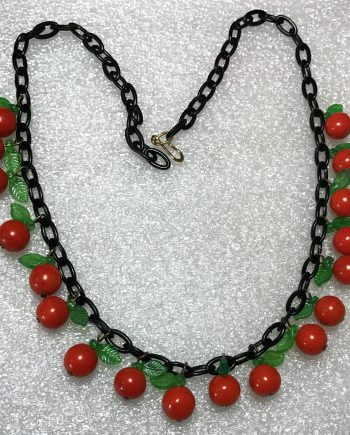 Vintage early plastic & glass oranges and leaves necklace