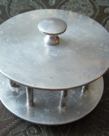 Vintage aluminum rings or threads holder - very old