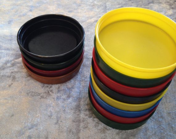 """12 Vintage celluloid galalite bakelite small """"gambling"""" dishes"""