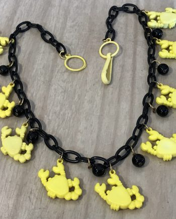 Vintage 1980's yellow plastic crabs necklace - Summer sale!