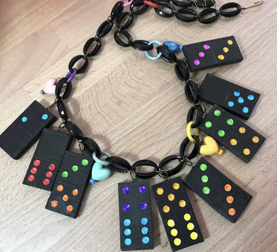 Vintage multicolor wood domino and early plastic hearts necklace bakelite style
