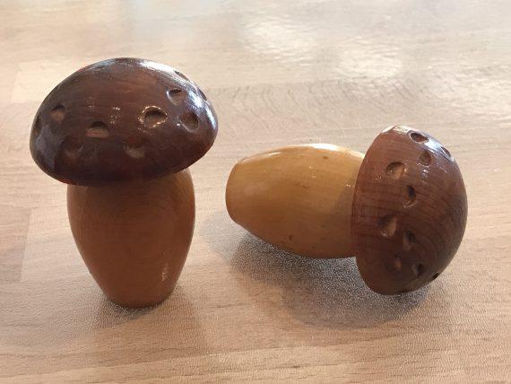 Vintage hand carved wood mushrooms sewing cases