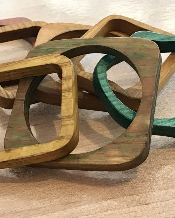 Vintage old wood bangles bracelets